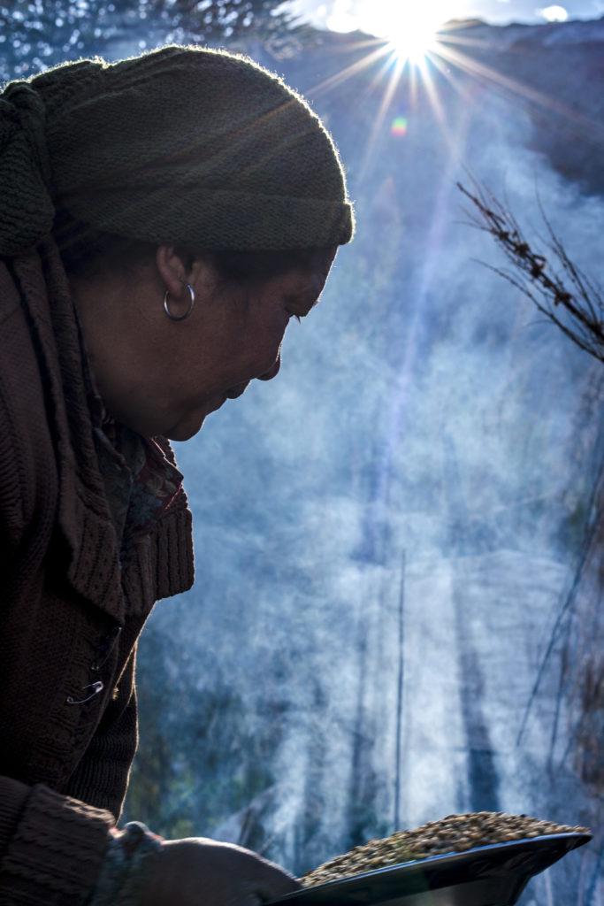 A woman lived in Zanskar was preparing for  winter season.
